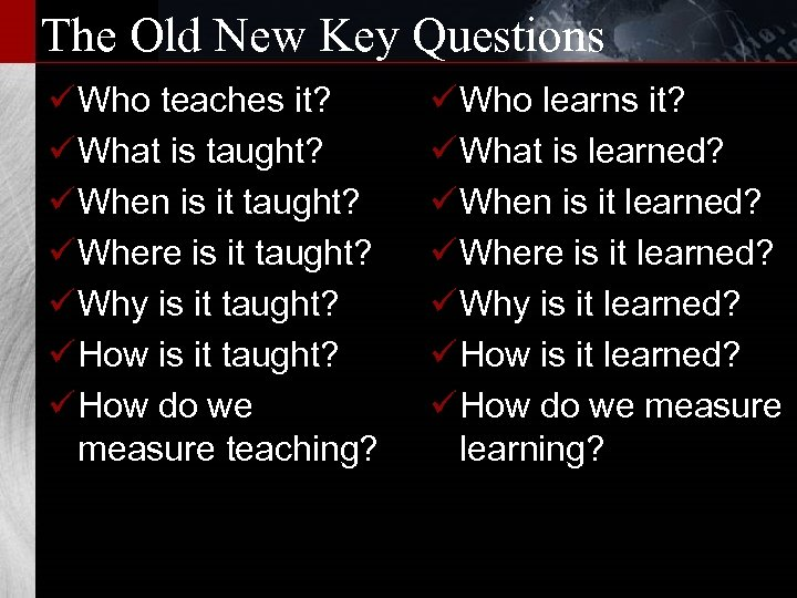 The Old New Key Questions ü Who teaches it? ü What is taught? ü