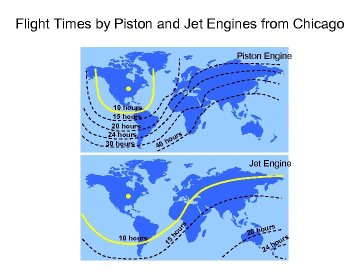 Flight Times by Piston and Jet Engines from Chicago Piston Engine 10 hours 15
