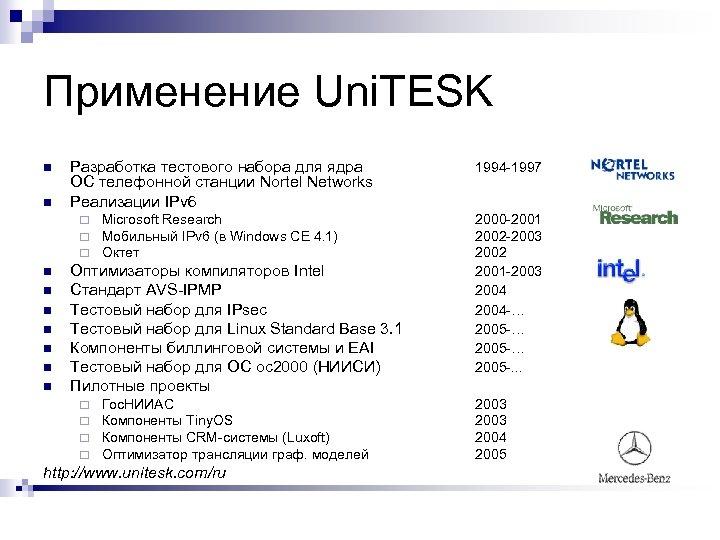 Применение Uni. TESK n n Разработка тестового набора для ядра ОС телефонной станции Nortel