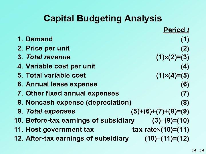 Capital Budgeting Analysis Period t 1. Demand (1) 2. Price per unit (2) 3.