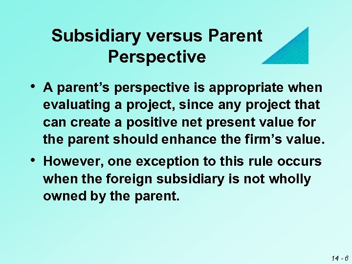 Subsidiary versus Parent Perspective • A parent's perspective is appropriate when evaluating a project,
