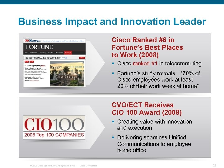 Business Impact and Innovation Leader Cisco Ranked #6 in Fortune's Best Places to Work