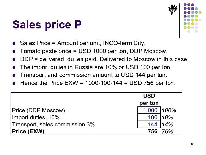 Sales price P l l l Sales Price = Amount per unit, INCO-term City.