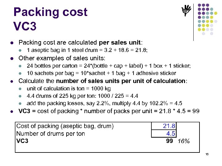 Packing cost VC 3 l Packing cost are calculated per sales unit: l l
