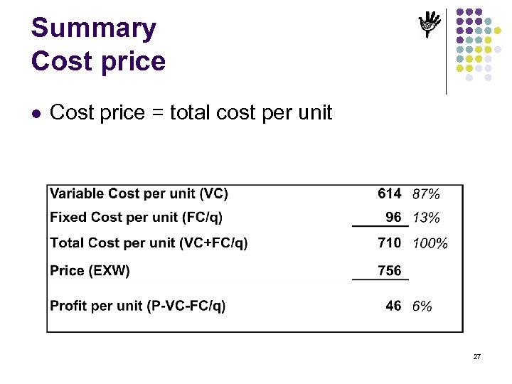 Summary Cost price l Cost price = total cost per unit 27