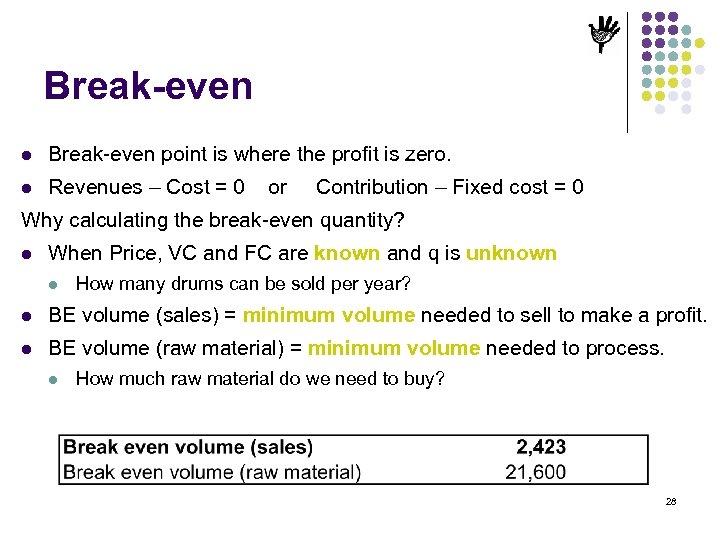 Break-even l Break-even point is where the profit is zero. l Revenues – Cost