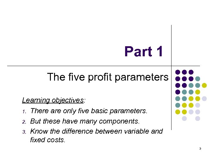 Part 1 The five profit parameters Learning objectives: 1. There are only five basic