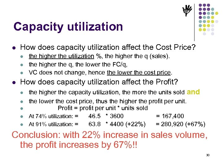 Capacity utilization l How does capacity utilization affect the Cost Price? l l the