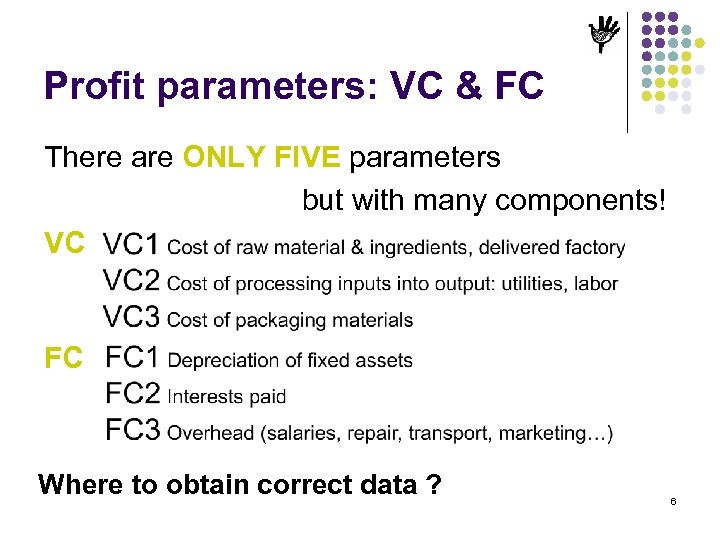 Profit parameters: VC & FC There are ONLY FIVE parameters but with many components!