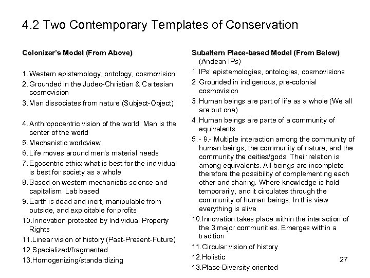 4. 2 Two Contemporary Templates of Conservation Colonizer's Model (From Above) 1. Western epistemology,