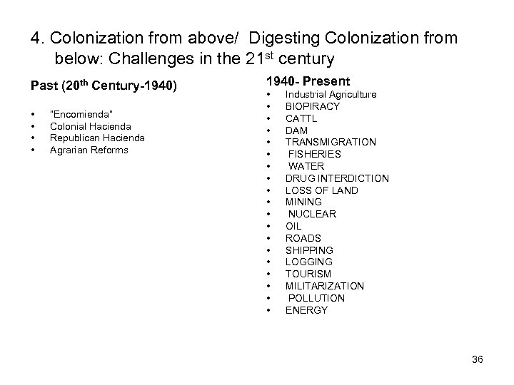 4. Colonization from above/ Digesting Colonization from below: Challenges in the 21 st century