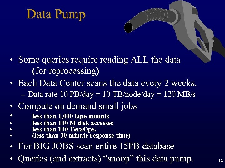 Data Pump • Some queries require reading ALL the data (for reprocessing) • Each