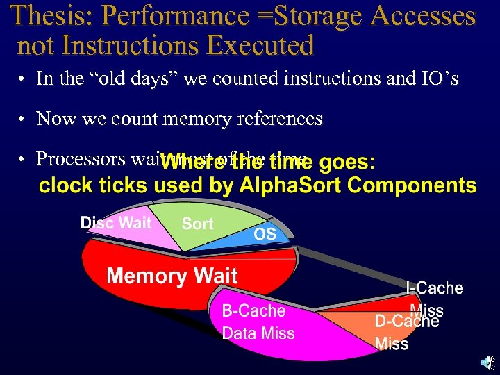 "Thesis: Performance =Storage Accesses not Instructions Executed • In the ""old days"" we counted"