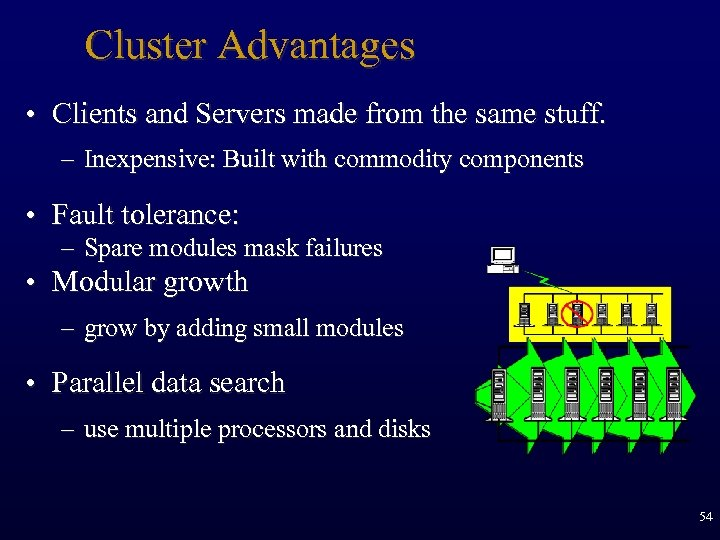 Cluster Advantages • Clients and Servers made from the same stuff. – Inexpensive: Built