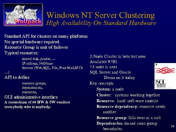 Windows NT Server Clustering High Availability On Standard Hardware Standard API for clusters on