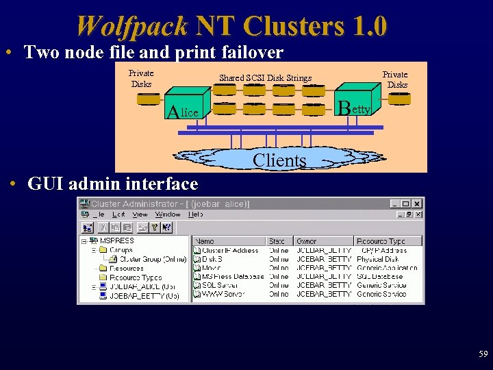 Wolfpack NT Clusters 1. 0 • Two node file and print failover Private Disks