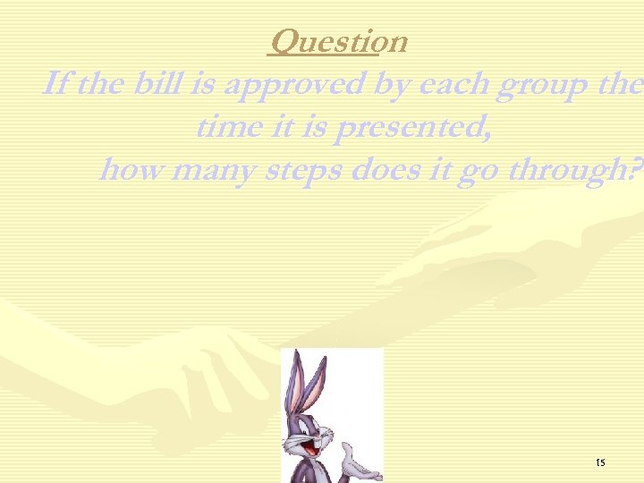 Question If the bill is approved by each group the time it is presented,