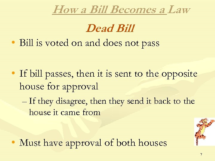 How a Bill Becomes a Law Dead Bill • Bill is voted on and