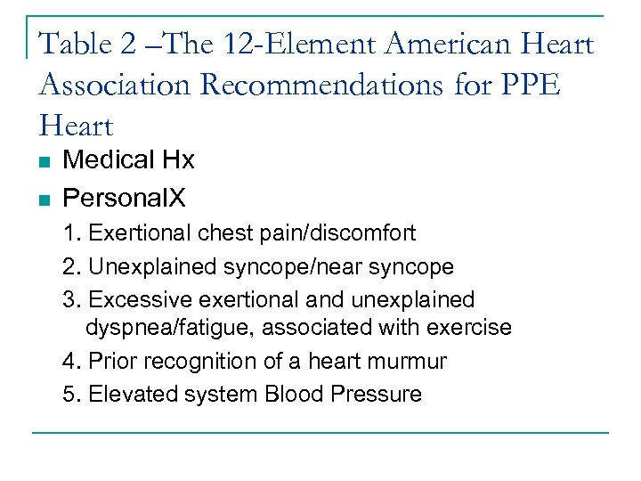 Table 2 –The 12 -Element American Heart Association Recommendations for PPE Heart n n