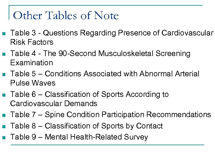 Other Tables of Note n n n n Table 3 - Questions Regarding Presence