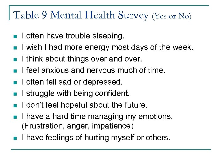 Table 9 Mental Health Survey (Yes or No) n n n n n I