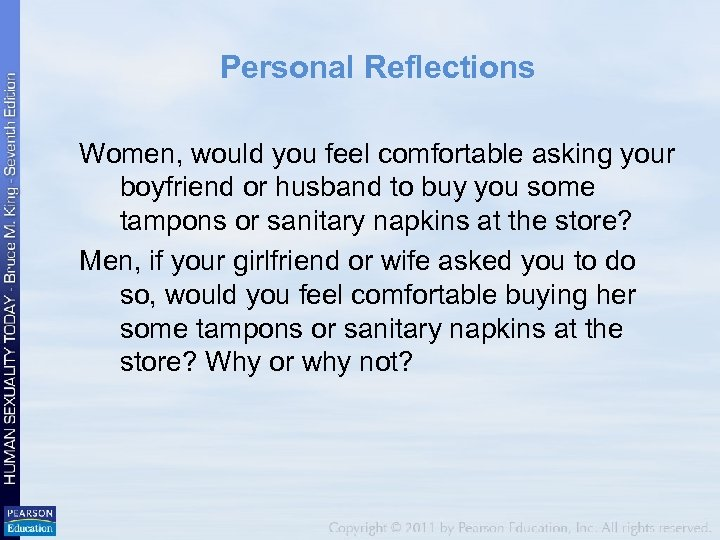 Personal Reflections Women, would you feel comfortable asking your boyfriend or husband to buy