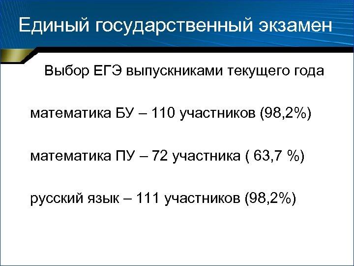 Единый государственный экзамен Выбор ЕГЭ выпускниками текущего года математика БУ – 110 участников (98,