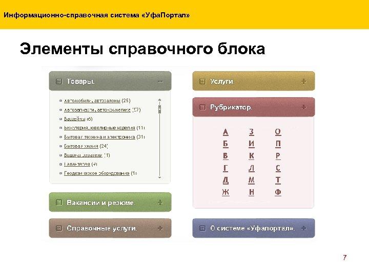 Информационно-справочная система «Уфа. Портал» Элементы справочного блока 7
