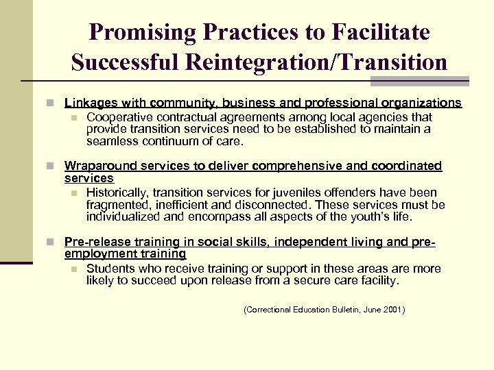 Promising Practices to Facilitate Successful Reintegration/Transition n Linkages with community, business and professional organizations