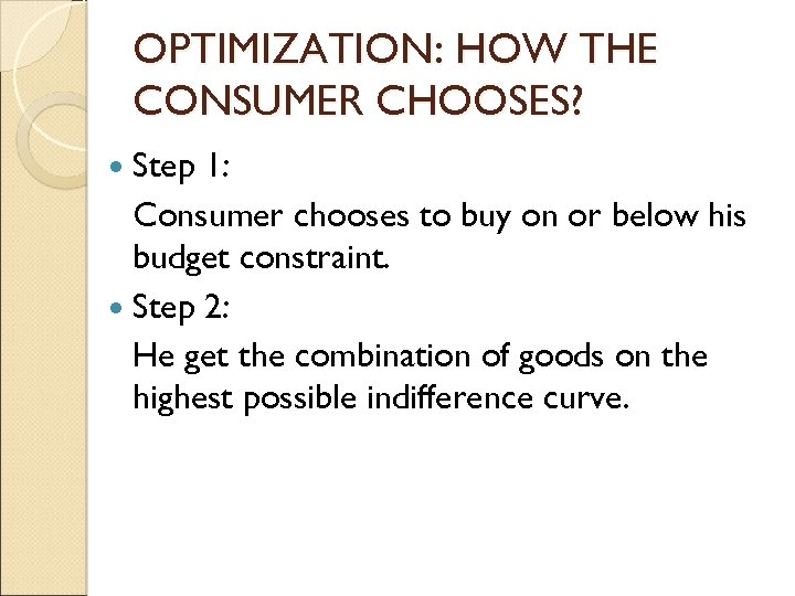 OPTIMIZATION: HOW THE CONSUMER CHOOSES? Step 1: Consumer chooses to buy on or below