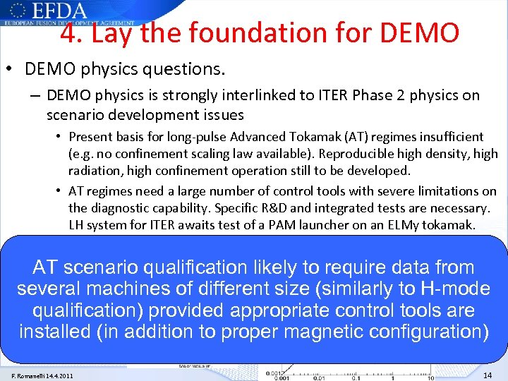 4. Lay the foundation for DEMO • DEMO physics questions. – DEMO physics is