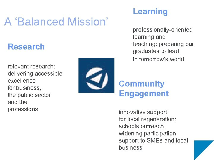 A 'Balanced Mission' Research relevant research: delivering accessible excellence for business, the public sector