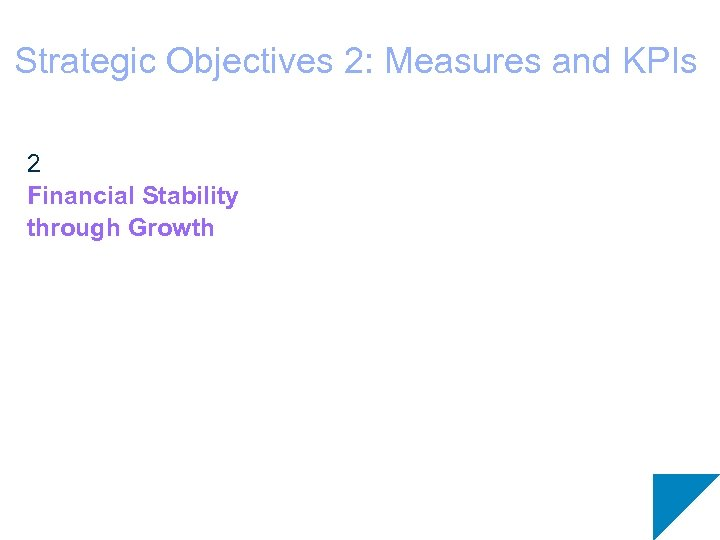 Strategic Objectives 2: Measures and KPIs 2 Financial Stability through Growth