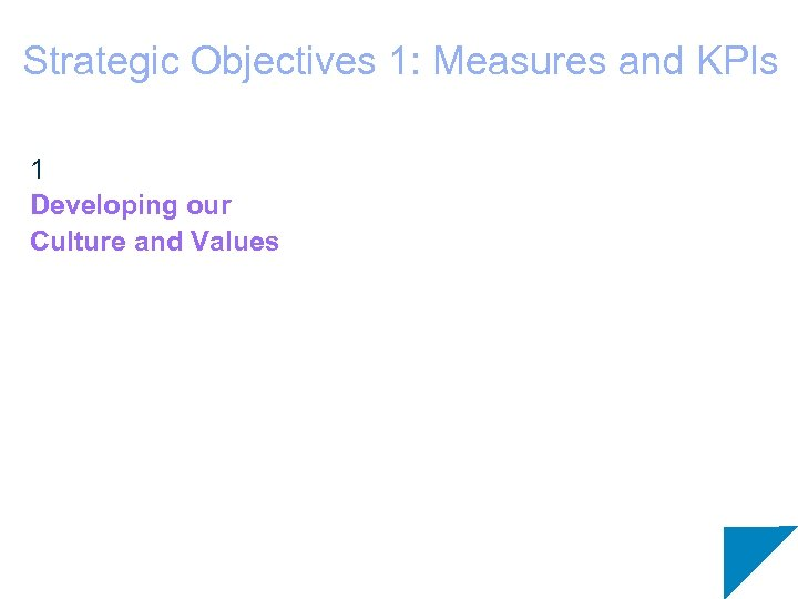 Strategic Objectives 1: Measures and KPIs 1 Developing our Culture and Values