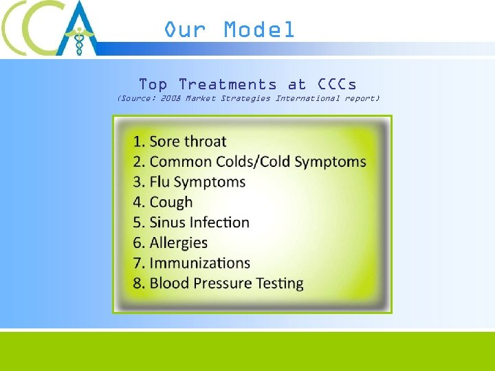 Our Model Top Treatments at CCCs (Source: 2008 Market Strategies International report)