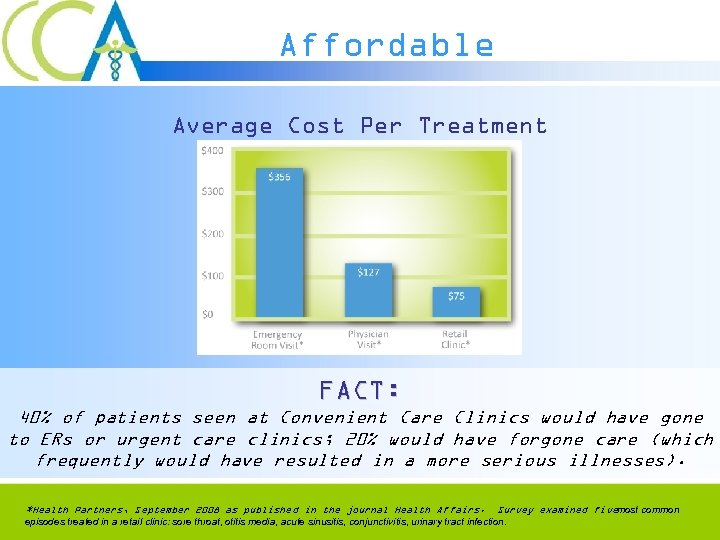 Affordable Average Cost Per Treatment FACT: 40% of patients seen at Convenient Care Clinics