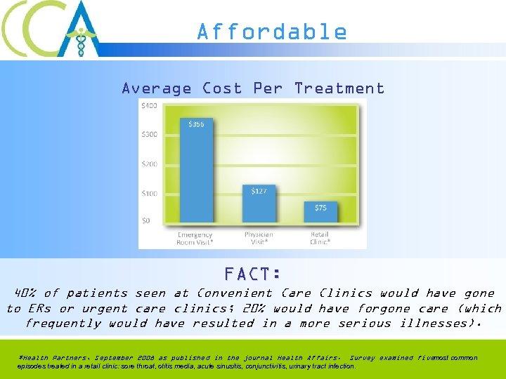 Affordable Average Cost Per Treatment FACT: 40% of patients seen at Convenient Care Clinics