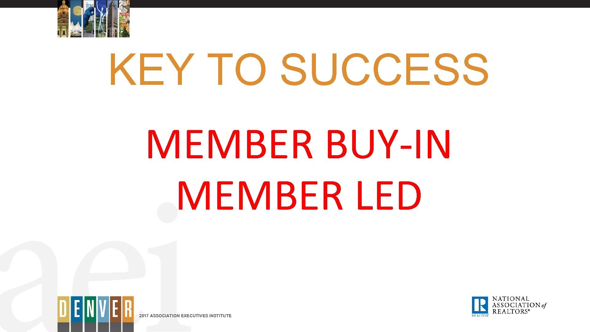 KEY TO SUCCESS MEMBER BUY-IN MEMBER LED 2017 ASSOCIATION EXECUTIVES INSTITUTE