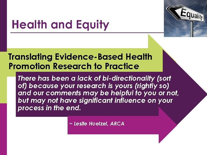 Health and Equity Translating Evidence-Based Health Promotion Research to Practice There has been a