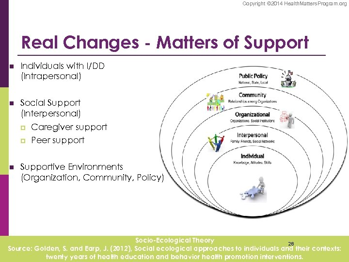 Copyright © 2014 Health. Matters. Program. org Real Changes - Matters of Support n