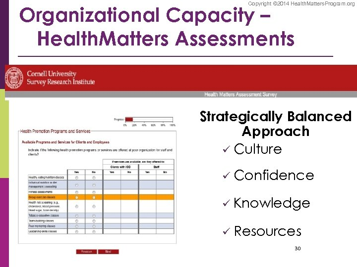 Copyright © 2014 Health. Matters. Program. org Organizational Capacity – Health. Matters Assessments Strategically