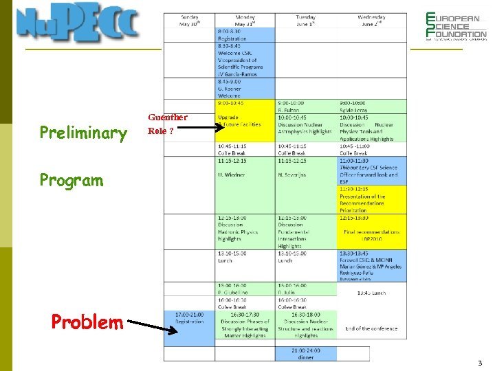 Preliminary Guenther Role ? Program Problem 3