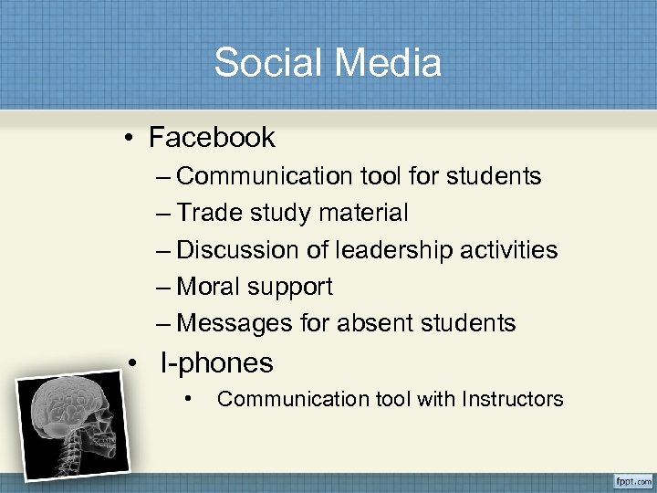 Social Media • Facebook – Communication tool for students – Trade study material –