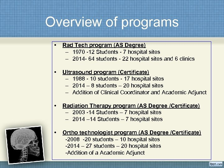 Overview of programs • Rad Tech program (AS Degree) – 1970 -12 Students -