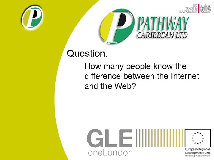 Question. – How many people know the difference between the Internet and the Web?