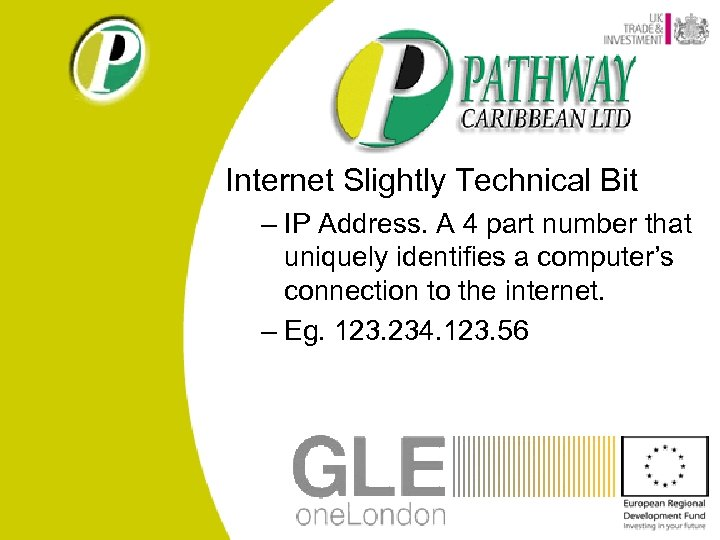 Internet Slightly Technical Bit – IP Address. A 4 part number that uniquely identifies