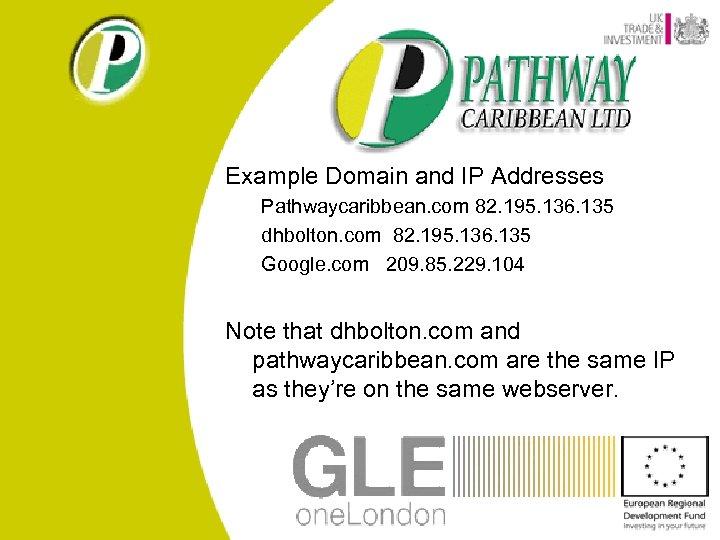 Example Domain and IP Addresses Pathwaycaribbean. com 82. 195. 136. 135 dhbolton. com 82.