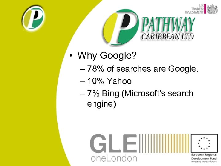 • Why Google? – 78% of searches are Google. – 10% Yahoo –