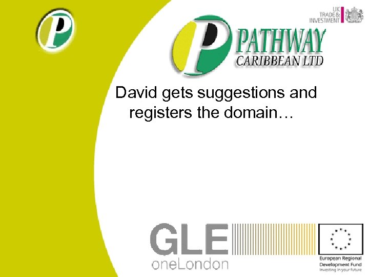 David gets suggestions and registers the domain…