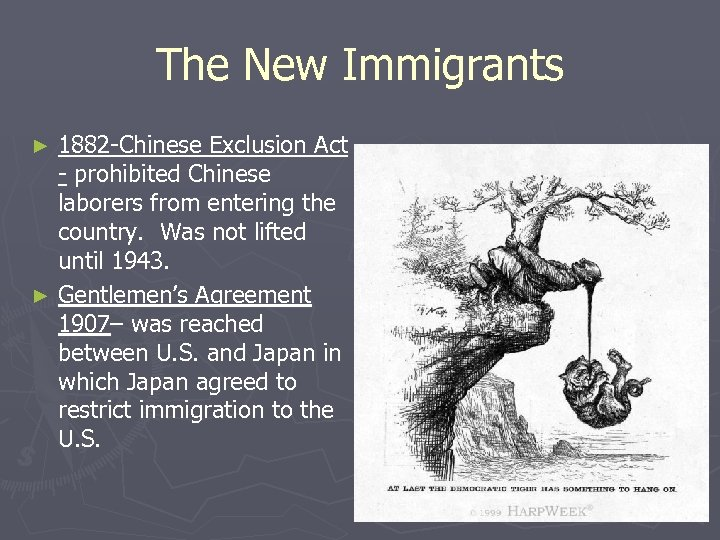 The New Immigrants 1882 -Chinese Exclusion Act - prohibited Chinese laborers from entering the
